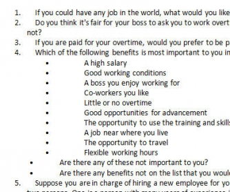 If You Could Have Any Job In The World: Conversation Questions