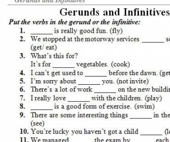 Gerund and Infinitive exercises