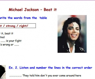 Song Worksheet: Beat It by Michael Jackson