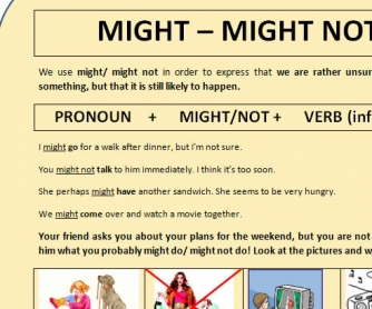 MIGHT/MIGHT NOT worksheet