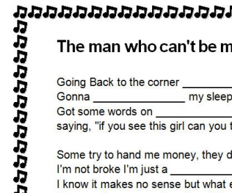 Song Worksheet: The Man Who Can't Be Moved by The Script
