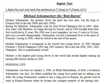 Michael Schumacher: the 'Red Baron' [Test on Past Simple, Past Continuous and Present Perfect]
