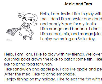 Comprehension: Jessie And Tom