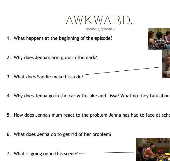 Movie Worksheet: Awkward s01e02