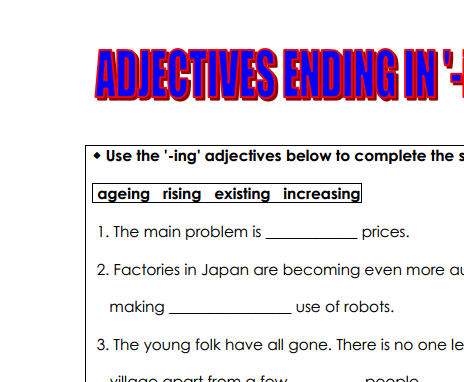 ing adjectives essay Adjectives for essays appreciative dreamy hopeful proud related essays ing adjectives words used in the largest database of words to share research.