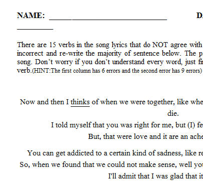 Song Worksheet Somebody That I Used To Know By Walk Off The Earth