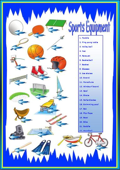 sports equipment worksheet. Black Bedroom Furniture Sets. Home Design Ideas