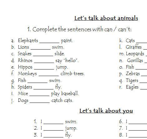 abilities worksheet let 39 s talk about animals. Black Bedroom Furniture Sets. Home Design Ideas