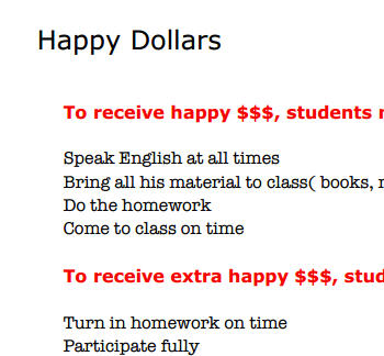 Happy Dollar Rules - An Incentive In The Classroom