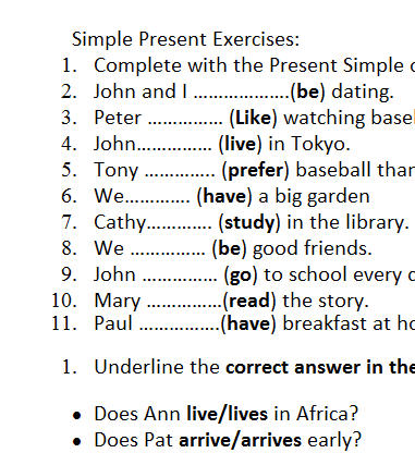 present simple exercises worksheets pdf