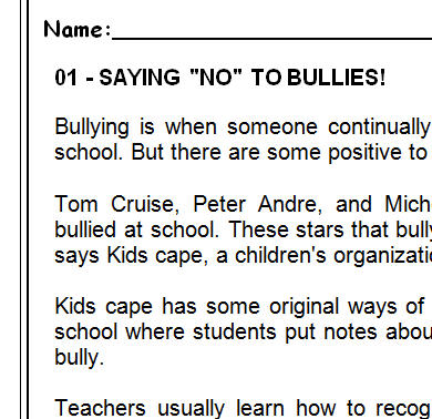 Bullying Reading Comprehension Test