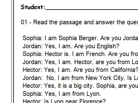 Where Are You From Reading Comprehension Dialogue Based Test