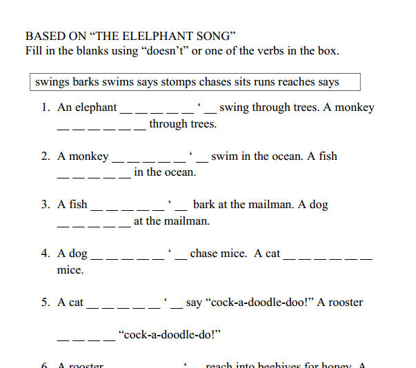 English Exercises Present Simpe: The Elephant Song [Present Simple Positive And Negative