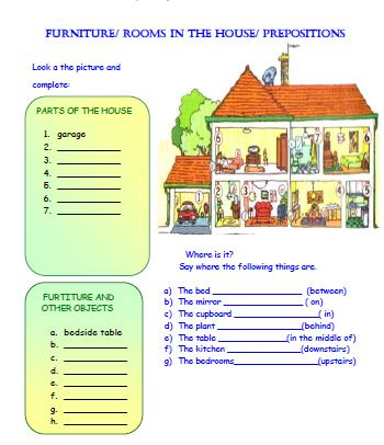 rooms in the house and prepositions worksheet. Black Bedroom Furniture Sets. Home Design Ideas