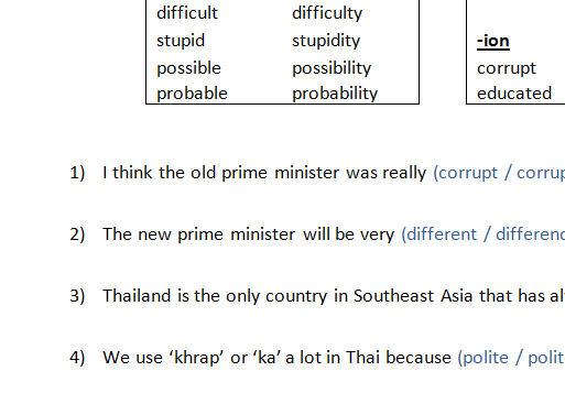 Nouns Derived From Adjectives Vocabulary Building For Thai Students