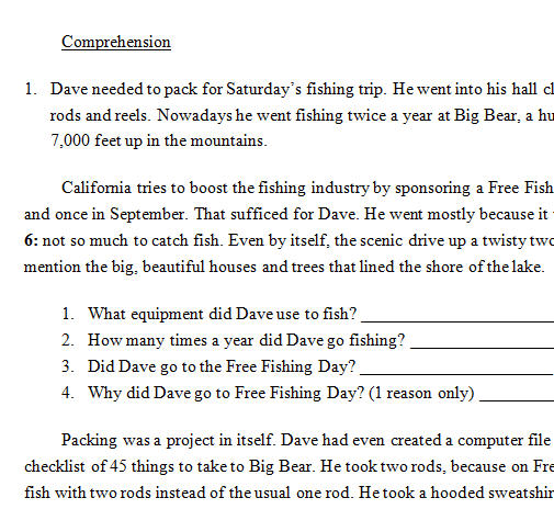 Reading Comprehension Exercise [Assorted Question Types]