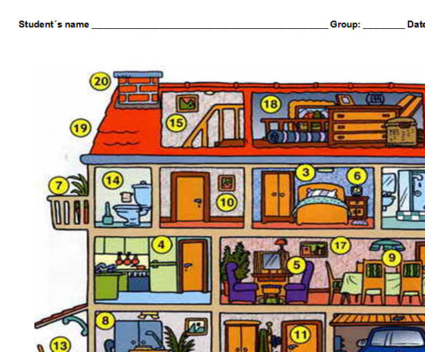 Parts of the house matching activity for Anglais vocabulaire maison