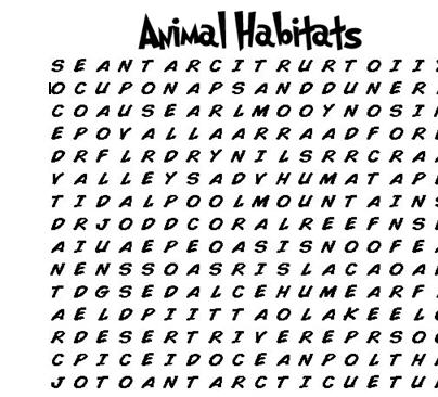 image about Animals Word Search Printable identified as Pets Habitat Wordsearch