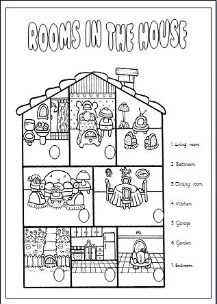 rooms in the house elementary worksheet. Black Bedroom Furniture Sets. Home Design Ideas