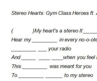 Song Worksheet: Gym Class Heroes by Stereo Hearts ft. Adam Levine [Listen, Order, Fill In Gaps]
