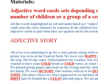 Adjectives/Feelings Story