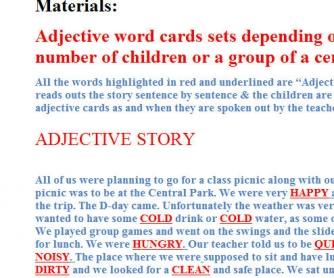 Adjectives/Feelings Story