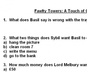Movie Worksheet: Fawlty Towers (Pilot Episode)