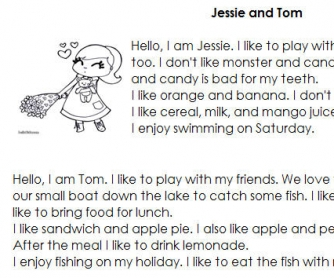 Reading Comprehension: Jessie And Tom