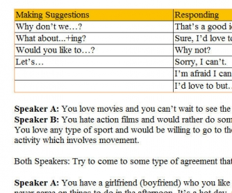 Speaking Activity 2º ESO [Making Suggestions, Agreeing/Disagreeing]