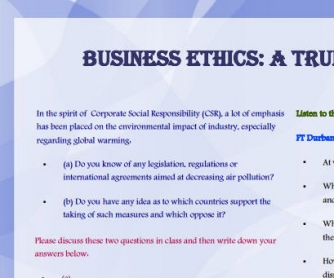 Business English Worksheet: Corporate Ethics