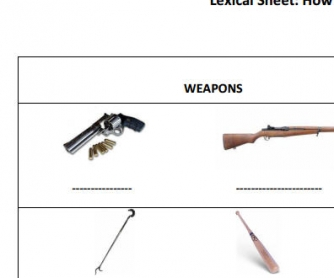 How To Kill Someone: Murder Weapon Vocabulary Worksheet