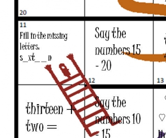 Snakes and Ladders, Numbers 1-20