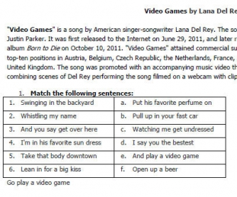 Song Worksheet: Video Games by Lana Del Rey