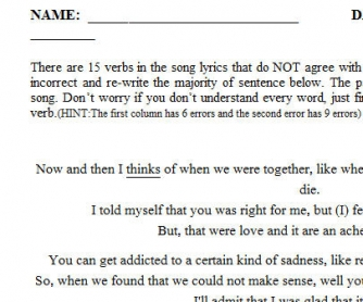 Song Worksheet: Somebody That I Used to Know by Walk Off the Earth [Subject/Verb Agreement]