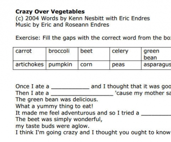 Song Worksheet: Crazy Over Vegetables by Eric Herman