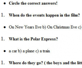 Worksheet: The Polar Express