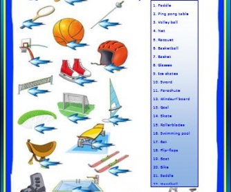 Sports Equipment Worksheet