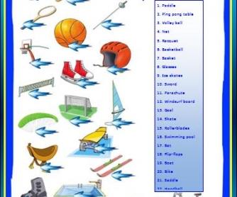 Sports Equipment Worksheet