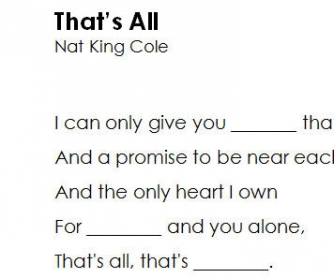 Song Worksheet: That's All by Nat King Cole [Cloze Listening Activity]
