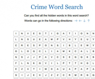 crime word search. Black Bedroom Furniture Sets. Home Design Ideas