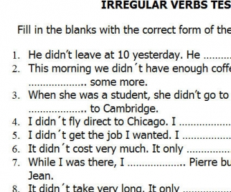 Irregular Verbs Mini-Test