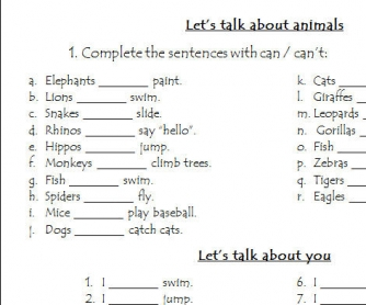 Abilities Worksheet: Let's Talk About Animals