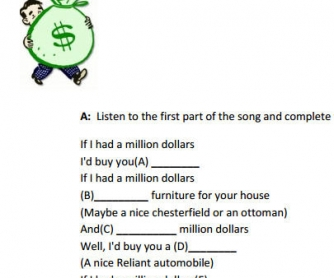 Second Conditional Song Worksheet: If I Had A Million Dollars by Barenaked Ladies