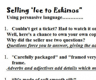 Selling Ice to Eskimos - Persuasive Language Worksheet