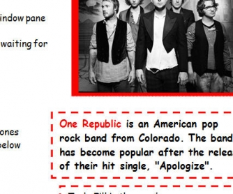 Song Worksheet: All Fall Down by One Republic