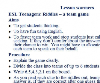 Riddles: Team Game