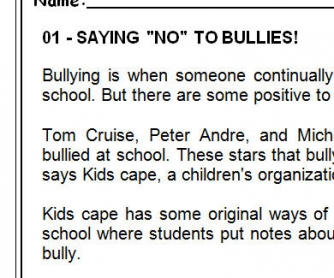 Bullying: Reading Comprehension Test