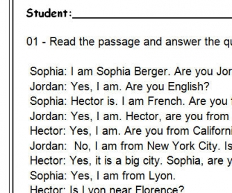 Where Are You From? Reading Comprehension Dialogue-Based Test