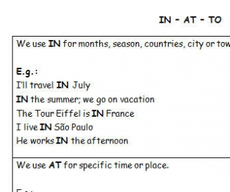 Prepositions IN, AT and TO