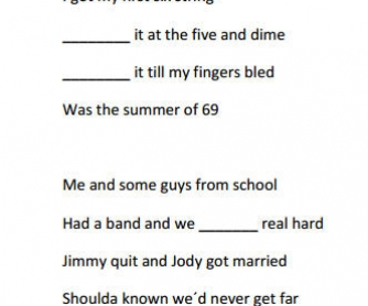 Song Worksheet: Summer of 69 by Brian Adams